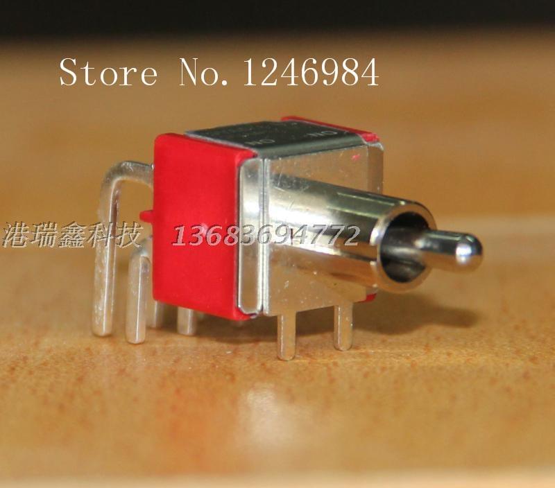 [SA]T8021 los dos tramos de seis pies son interruptor de palanca corto curvado M6.35 interruptor de palanca Horizontal 1MD1 Deli Wei de Taiwán -- 50 Uds.