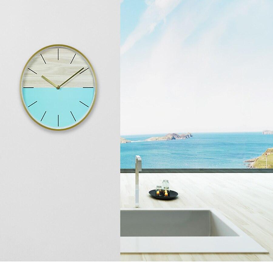 Horloge murale ronde en verre marbre or   Horloge murale ronde dart, décoration De salon, horloge créative pour salle 50w244