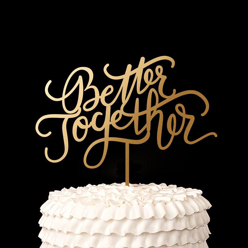 Decoración con letras doradas, decoración de madera rústica para Tartas, regalo de boda, regalo de boda, decoración de recuerdos de fiesta de aniversario