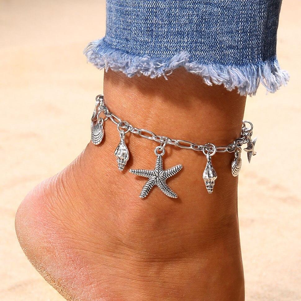 Colgante de concha de estrella de mar plateado S183, pulsera de tobillo de Metal en la pierna, Accesorios de playa para verano, tobillera de conchas Fusskett