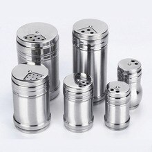 Poivrier pot à épices couvercle rotatif   Gadgets de cuisine en acier inoxydable à usages multiples, poivrier, pot à épices, couvercle rotatif, canette dassaisonnement, bouteille de sucre sel 1 pièce