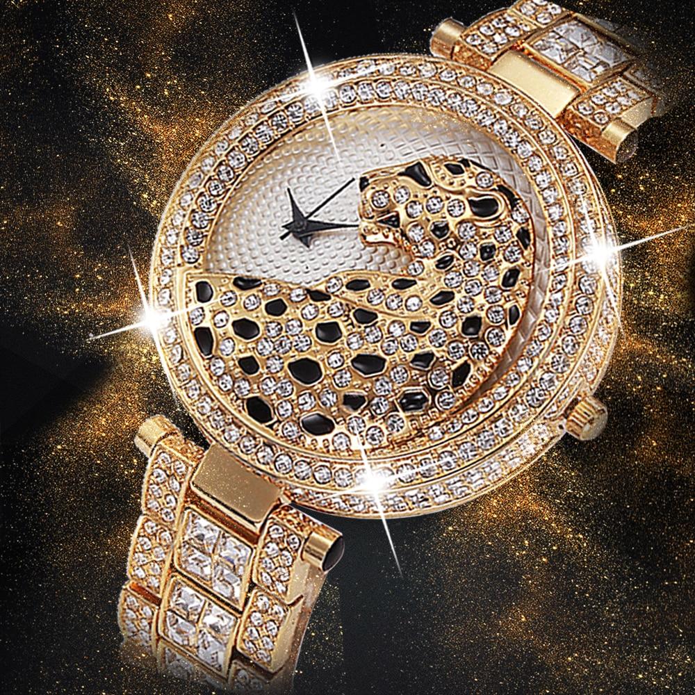 Missfox Women Fashion Quartz Watch Casual Ladies Watch Female Quartz Gold Watch Crystal Diamond Leop