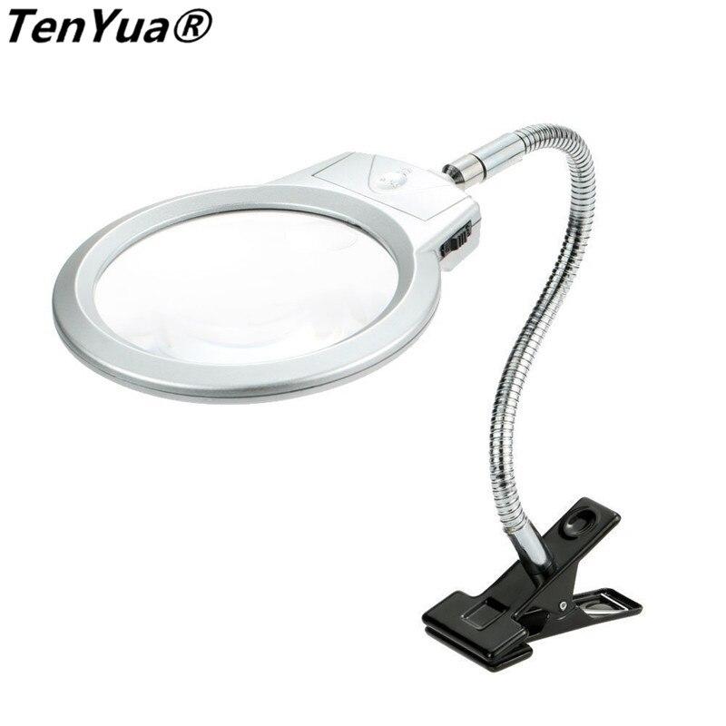 TenYua 2,5X107 MM 5X24 MM LED lupa iluminadora manguera de Metal lupa mesa de escritorio Lámpara de lectura luz con abrazadera LED