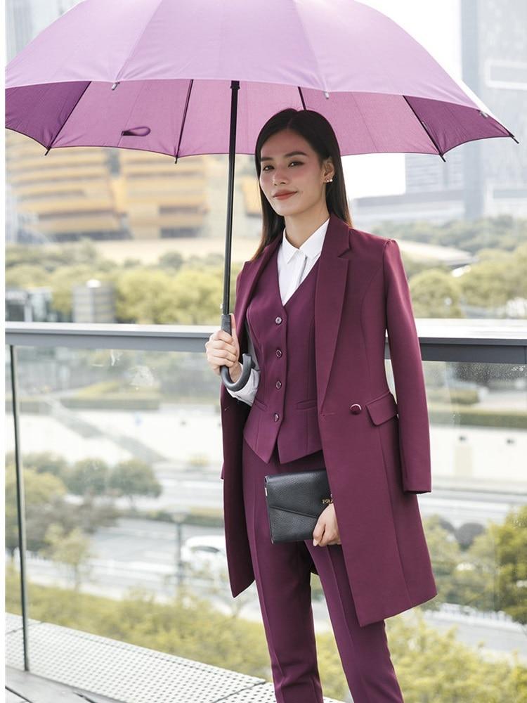 Высококачественная ткань 2018 осень зима женские блейзеры костюмы униформа дизайнерские Деловые женские офисные костюмы с длинной ветровко...