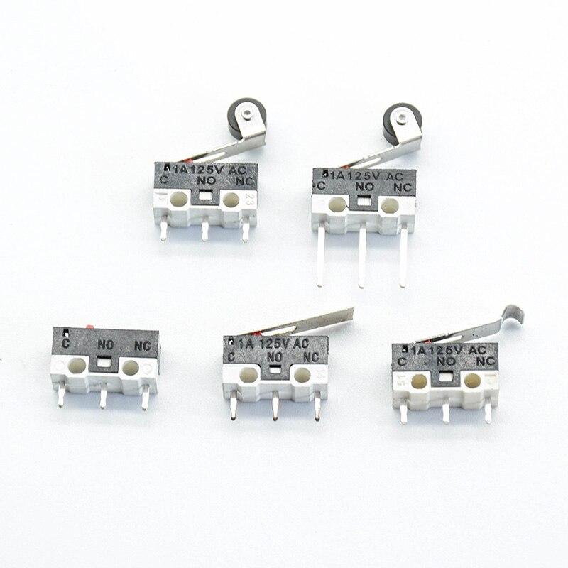 Commutateur de bouton poussoir   Commutateur de Micro limite 1A 125V AC Mouse 3 broches manche Long, bras de levier à rouleau SPDT 12*6*6mm TIAIHUA 10 pièces