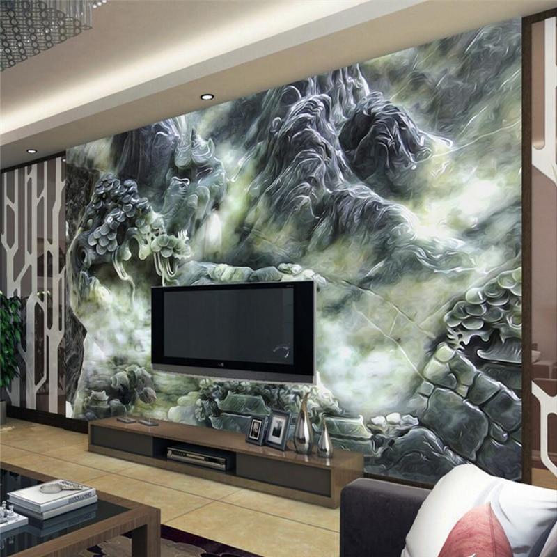 beibehang Jade Sculpture Landscape Fresco TV Custom papel de parede 3D photo wallpaper for living room bedroom landscape mural