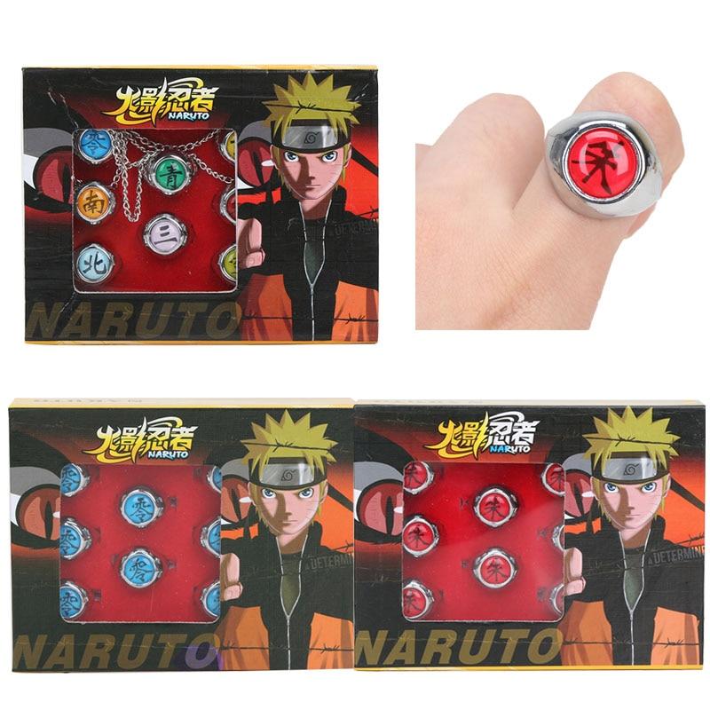 10 teile/satz Anime HOKAGE Naruto Akatsuki cosplay Legierung Ring Set Sasori Itachi Hidan Deidara Pein figur Spielzeug