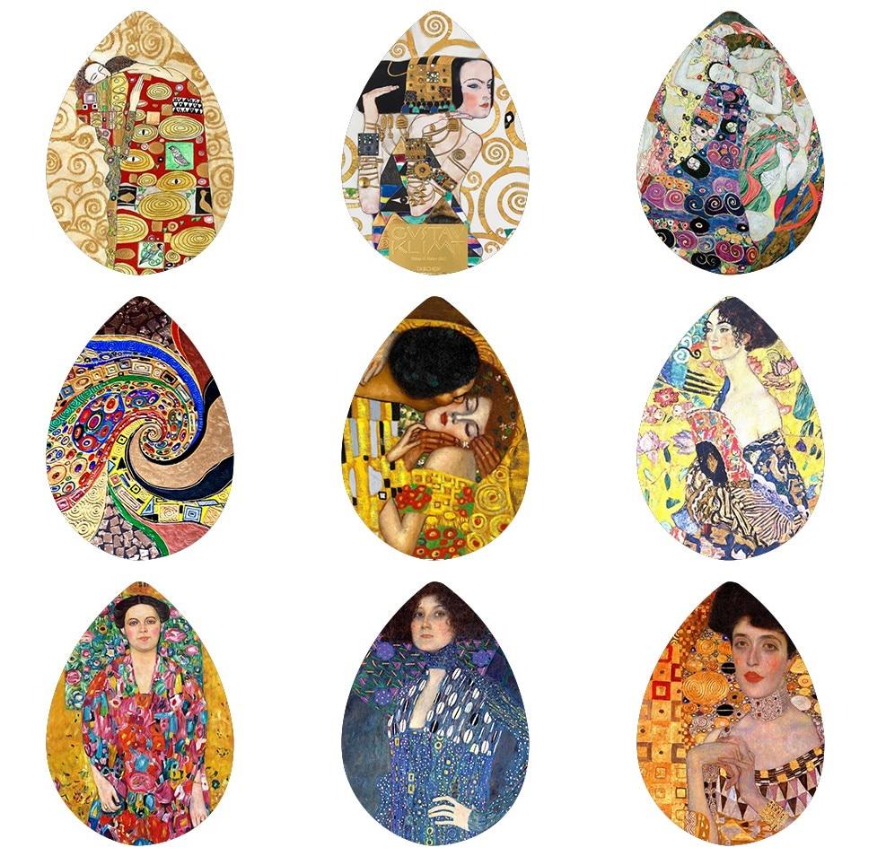 Yolprtty 5pcs18*25mm arte de Klimt a la moda, pinturas hechas a mano, foto de cristal, cabujones estilo gota, accesorios de joyería