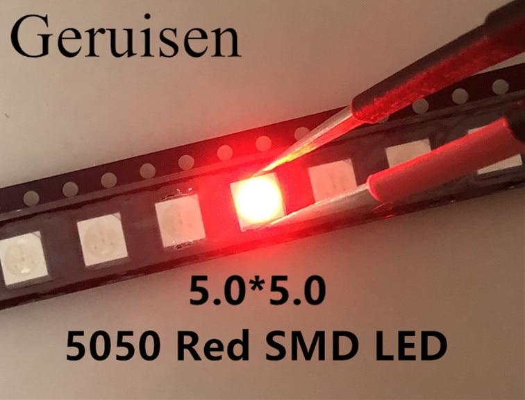Montagem em superfície novo real apressado 5050 vermelho smd Plcc-6 3-chips ultra brilhante diodos led emissor de luz 100 pces