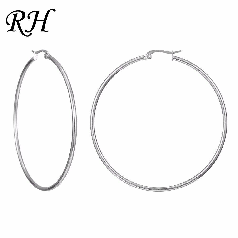 Enorme suave círculo aro pendientes para mujeres Acero inoxidable hipérbole pendientes grandes pendientes anillo pendiente joyería