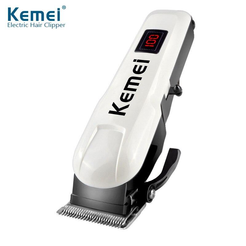 Cortadora de pelo Kemei KM-809A eléctrica recargable, cortadora de pelo profesional con pantalla LCD, cortadora de barba y pelo eléctrico inalámbrica