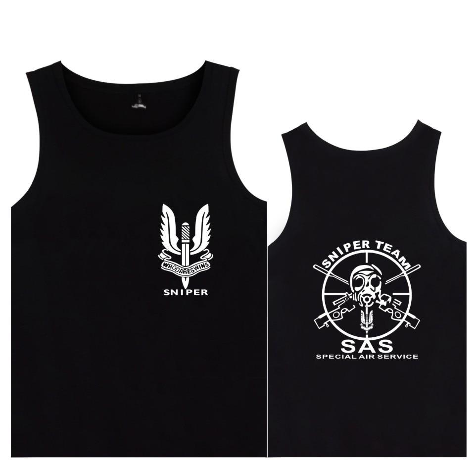 Servicio aéreo especial del ejército británico, camisetas sin mangas con insignia, Camiseta de algodón a la moda para hombre, ropa informal, camisetas sin mangas SAS de equipo de francotirador del Reino Unido, s.a