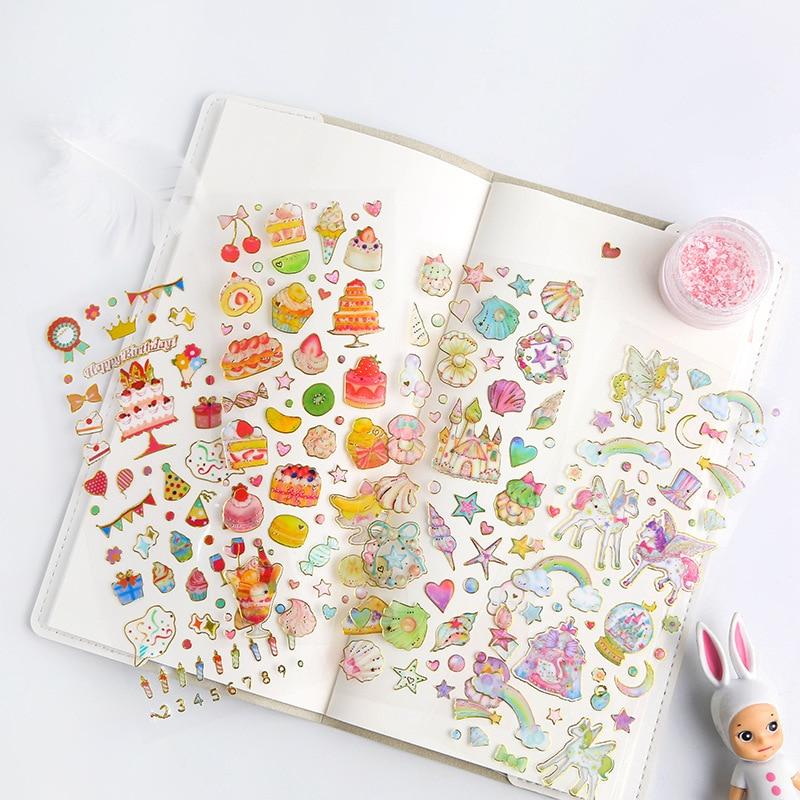 Pegatinas de feliz cumpleaños transparentes bonitas pegatinas de viñetas para diario Kawaii Star Heart adhesivo de papelería hecho a mano
