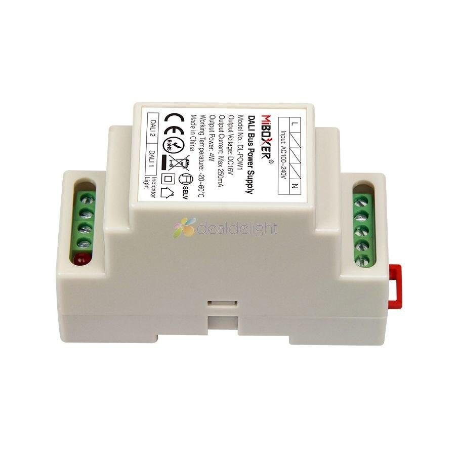 Miboxer DIN Rail DALI Bus alimentation DL-POW1 DC16V 4W Max250mA AC 110V 220V pour RGB CCT led downlight transformateur