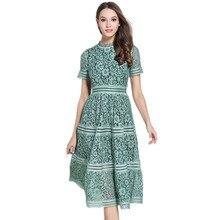 ZAWFL High Quality Self Portrait Dress 2020 Summer Women Elegant Slim Pink/Green Hollow Out Lace A-line Midi Dress vestidos