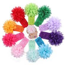 10pcs/lot Baby Girls Headband Toddlers Kids Infants Crochet weave Hairband & Chiffon flowers Headbands Children hair Accessories