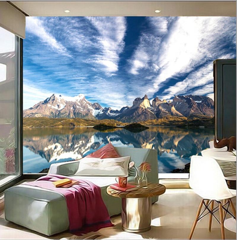 O mais recente 3D murais, cenário natural do Chile, céu bonito snow mountain água límpida, sala TV parede do quarto papel de parede