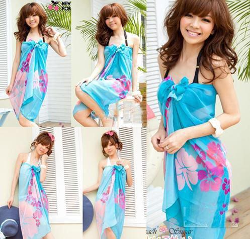 Best quality 20pcs Fashion Bikini Summer Beach Wrap Swimwear CoverUp Sarong Scarf Pareo  free shipping