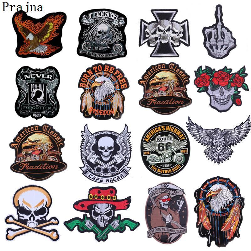 Prajna Big Punk Rock parches de insignias bordados con águila banda de Metal parche de motorista gratis calaveras planchado parches para ropa chaleco