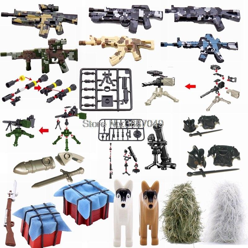 Juego de caja para armas con bloqueo militar, juego de armas espada, juegos de construcción para niños, piezas de bloqueo militar, bloques de regalo