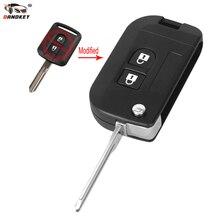 Étui de clé de voiture   2 boutons, pliable et rabattable, pour télécommande Nissan Micra Xtrail Qashqai Juke Duke