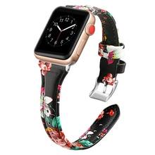 Bracelet en cuir imprimé Ikatydid pour montre apple 4 3 bandes 44mm 42mm correa 38mm 40mm bracelet pour iwatch série 4/3/2/1 ceinture de poignet
