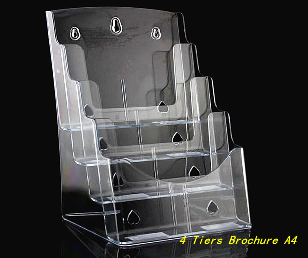 Clear A4 4 Tiers Plastic Acrylic Brochure Literature Pamphlet Display Holder Racks Stand To Insert Leaflet 12pcs