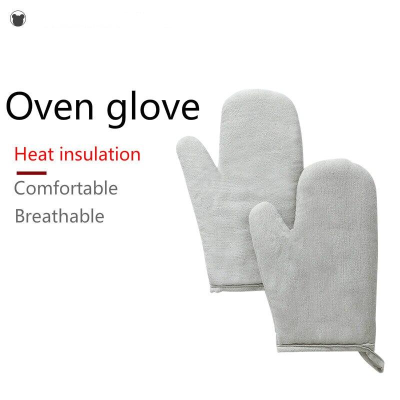 1 piezas casa guantes de trabajo para microondas y horno y barbacoa resistente al calor cocina herramienta de algodón grueso aislado profesional para hornear guantes