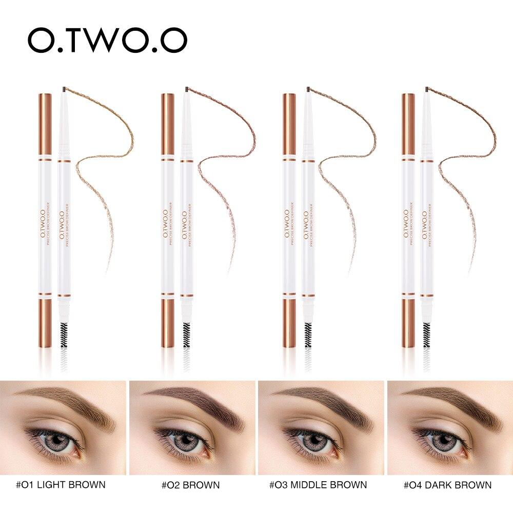 O. TW O.O nuevo 1PC 4 colores de larga duración de doble punta ceja lápiz impermeable no mareado muy fino Rotatable eyebrokpen TSLM2