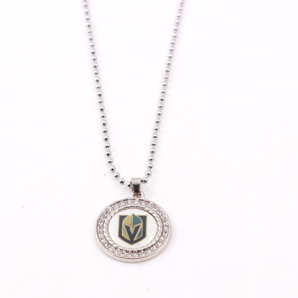 Collar de cristales redondos Vegas Golden Knigt con cadena de bola de 60cm colgante collar para fanáticos del Hockey sobre hielo Dropshipping para mujeres y hombres