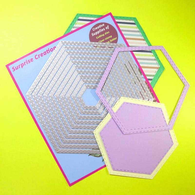Grandes troqueles de corte cosido hexagonal Scrapbook bricolaje artesanía de papel de plantilla sorpresa creación muere