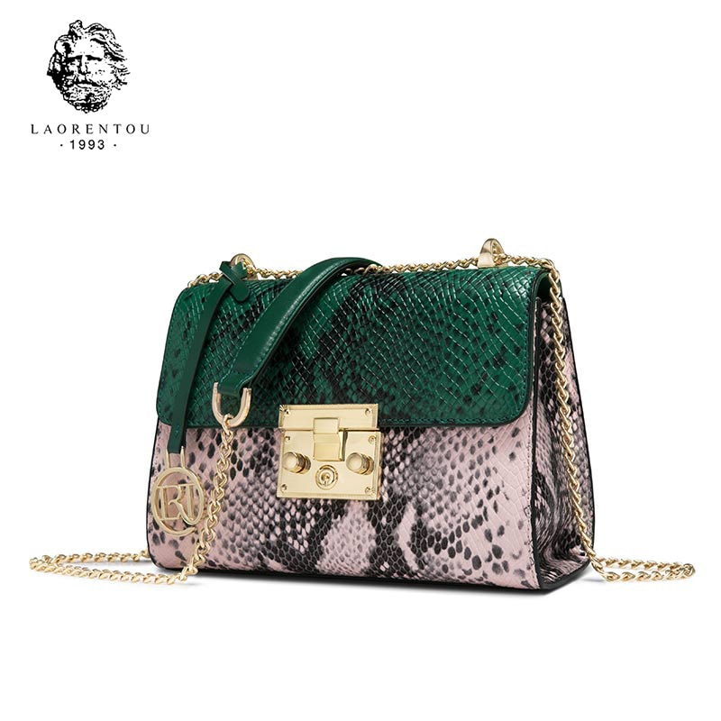 LAORENTOU-حقيبة كتف نسائية من الجلد المنقسمة على شكل ثعبان ، حقيبة كتف بسلسلة