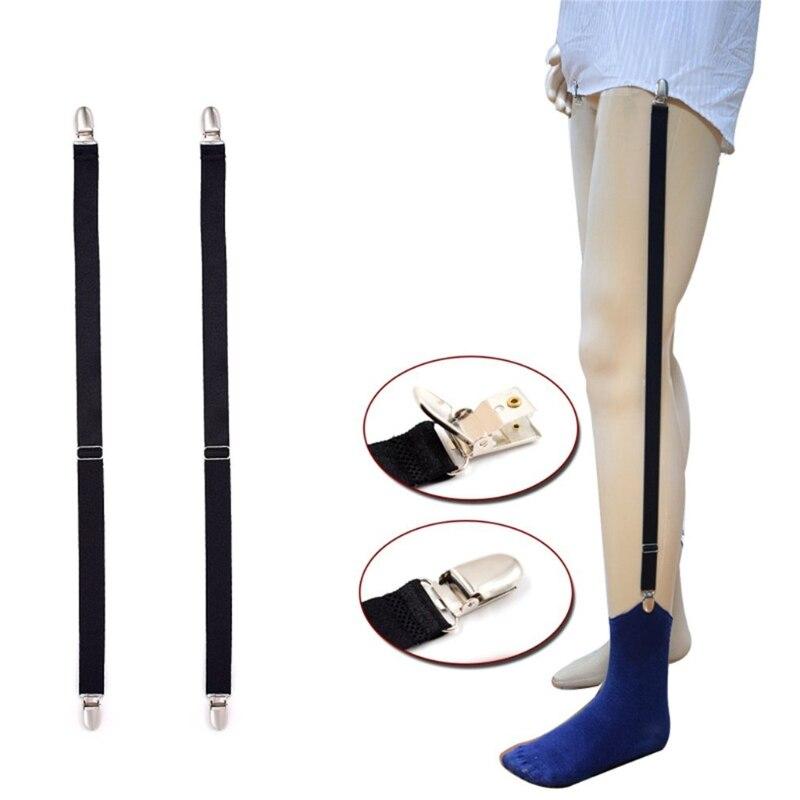Camisa recta con tirantes para hombre, soporte elástico para camisa, ligas, cinturón con Clip de Metal