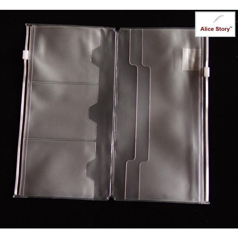Pvc doble cremallera/bolsa de tarjeta L (estándar) para cuaderno de viajero diario bolsillo bolsa 21X11Cm almacenamiento TN carpeta Archivos Accesorios