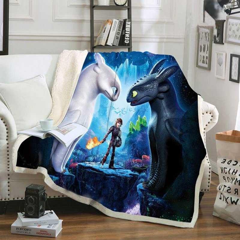 Manta sin dientes Light Fury Dragon 3, manta estampada, sofá de peluche, juguetes para niños, cubierta, capa de Manta furia nocturna, dragón
