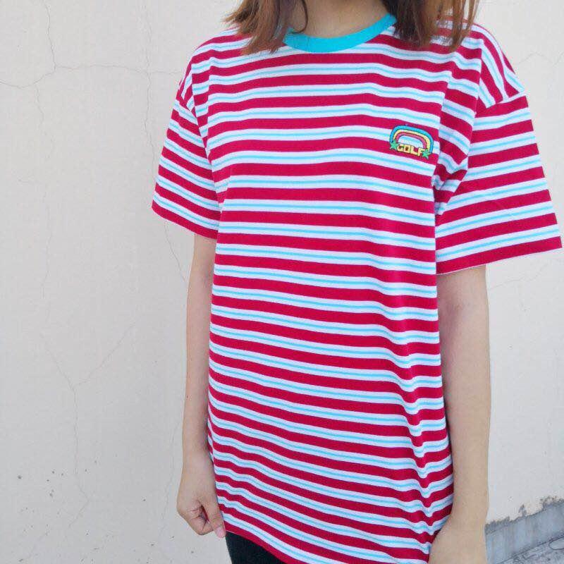 rainbow Striped golf Le Fleur Tyler The Creator T Shirts T-Shirt Hip Hop Skateboard Street Cotton T-Shirts Tee Top #AB56