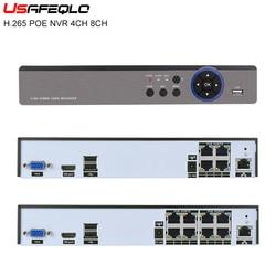Usefqlo 4ch 8ch h.265 poe nvr jogar e plug 48v 4k 5.0mp 1080p cctv nvr vídeo segurança visão remota vigilância onvif p2p