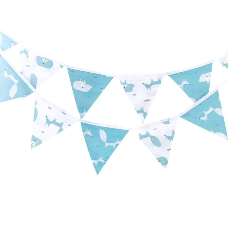 Banderín de barba de tela de algodón con dibujo de Animal azul y blanco de 3,2 m con bandera, guirnalda de bandera para boda/Cumpleaños de bebé, decoración para fiestas para montar 12 banderas
