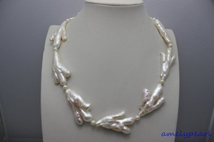 fresh water pearl necklace 19 INCH white Chicken-shaped & 5mm beads alloy clasp