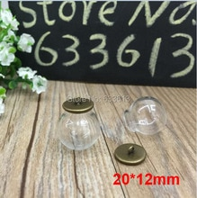 بيع شحن مجاني 100 مجموعات/وحدة 20*12 ملليمتر (فتح) الزجاج غلوب عرض & قاعدة مجموعة DIY الزجاج فقاعة الزجاج فيال قلادة الزجاج غطاء