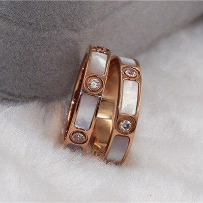 Rosa cor de ouro aço inoxidável mãe de pérola anel aneis, moda casal anéis para homem e mulher anel feminino cristal jóias