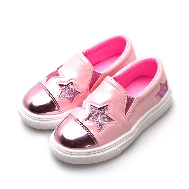 Pink Sliver Kids Shoes 2019 Child Casual Shoe Baby Girl Shoes Student Sport Shoes Girls Bling Stars 3 4 5 6 7 8 9 10 11 12 14T