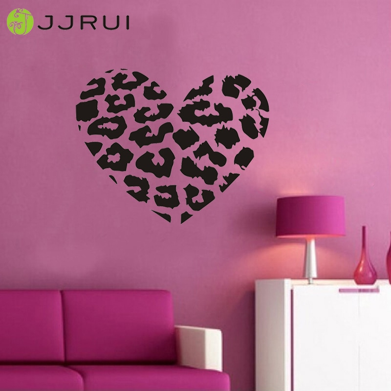 Jjrui leopard ponto coração decalque da parede do vinil adesivo estampa de leopardo diy decoração da casa decoração para quartos 21 cor