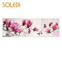 Nordique 3 pièces/ensemble Joint toile tenture murale photos florales nouvelle peinture par numéro cadeau peinture à lhuile bricolage cadeau Art tenture murale peinture