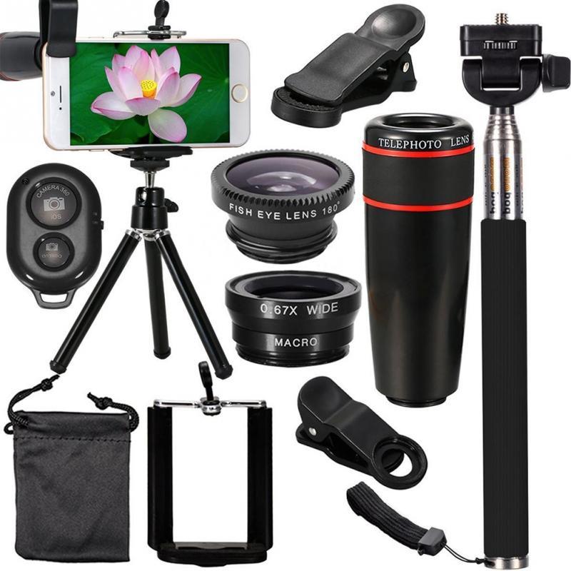 1 Juego de accesorios para lentes de cámara todo en 1 Kit de viaje superior para teléfonos inteligentes iPhone Samsung HTC HUAWEI PC, tableta y ordenadores