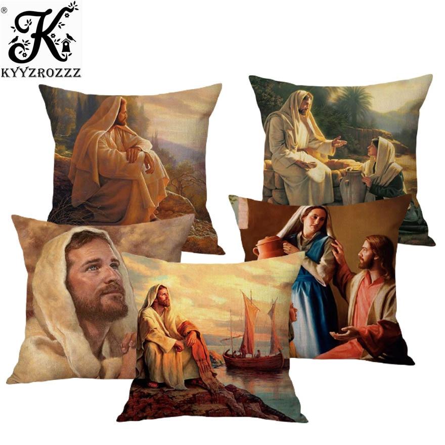 45х45см декоративная подушка для дома с масляной росписью, чехол с изображением Иисуса Христа, портрета, христианского искусства, наволочка из хлопка и льна