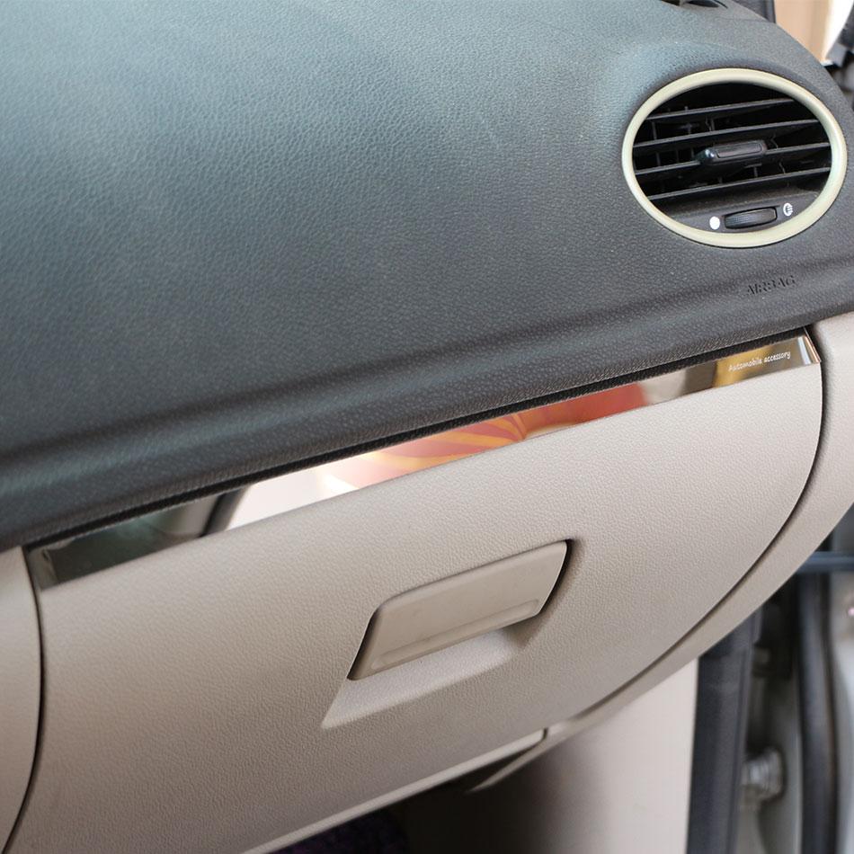 1Piece Stainless Steel Car Glove Box Copilot Storage Sequins Sticker Trim Fit for Ford Focus 2 MK2 2005 - 2011 LHD Accessories