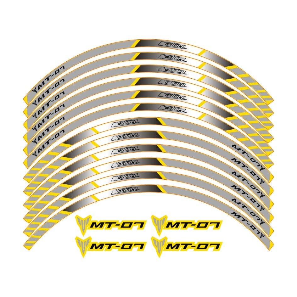 K-sharp color a 4 para YAMAHA MT-07 adhesivos de rueda para motocicleta pegatinas reflectantes de franjas para llanta MT 07 moto mt07