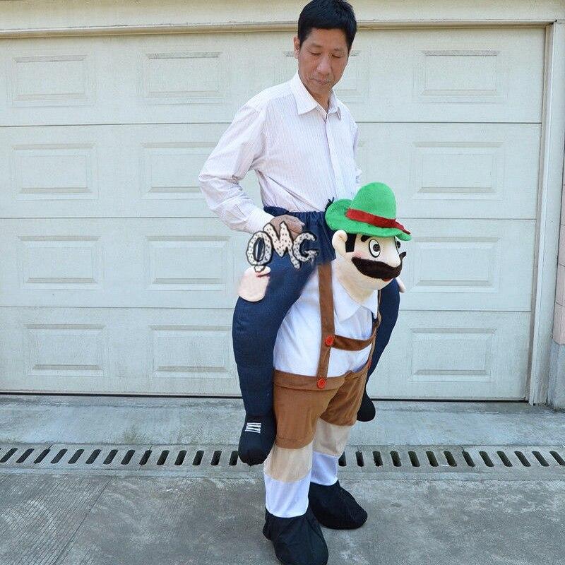 Traje de Mascota de hombro, disfraz de actuación, disfraz de rol, vestido de fiesta de piggyback (cerveza masculina/marrón)