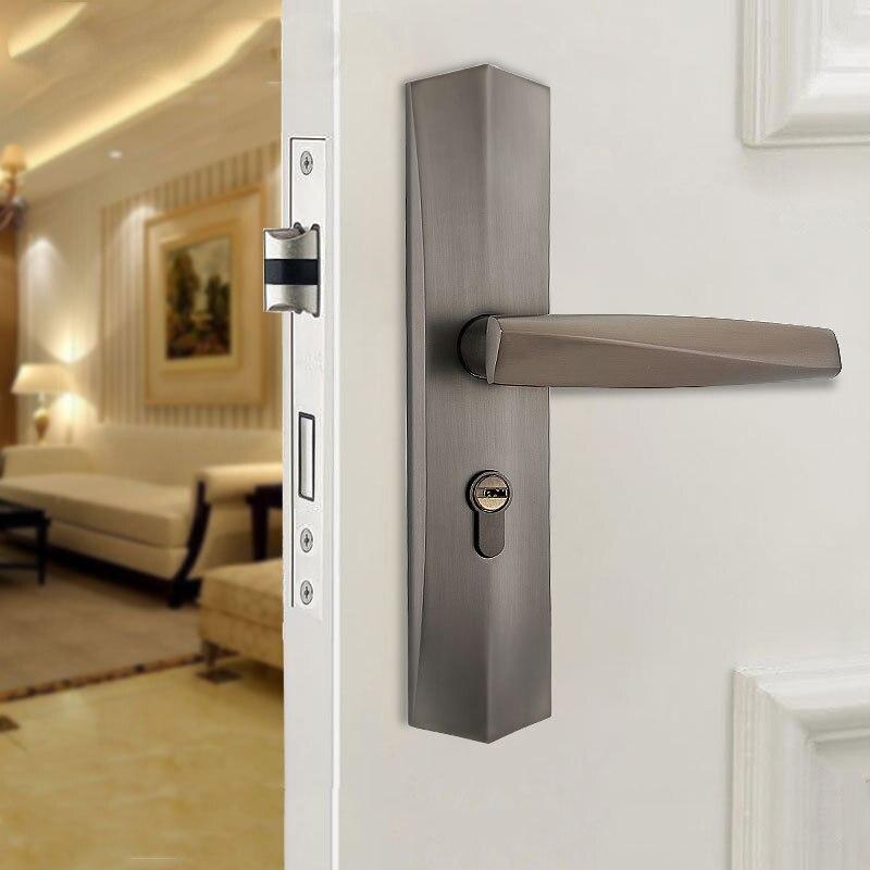 المصنع مباشرة الأوروبي الحمام الداخلية قفل الحديثة بسيطة سبائك الزنك خشب متين قفل الباب مع مقبض الصامتة قفل